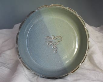 Dragonfly Brie Baker - green and blue - baking dish - pottery - gift