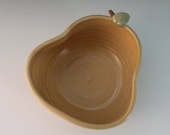 Unique pottery bowl - serving dish - pear - yellow