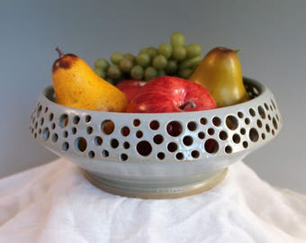 Blue Decorative Bowl - Fruit Bowl - Stoneware bowl - coffee table bowl - ready to ship