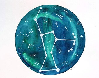 Original painting Orion constellation Star chart illustration Galaxy art Star chart