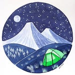 Original Watercolor painting Camping tent on mountains Small wall decor