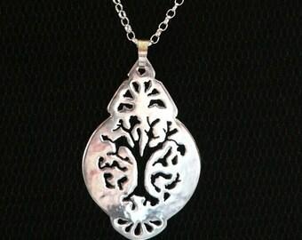 Big Tree Drop Pendant, sterling silver