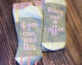 Women's Coffee Socks, If You Can Read This Socks, Coffee Socks, Funny Birthday Gift Present Wool Coffee Socks, Bring Me Coffee, Gift Idea