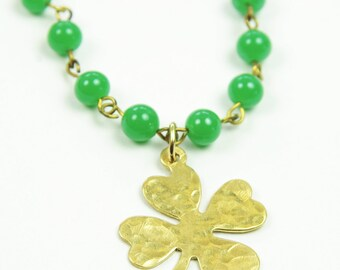 Shamrock Necklace Gold Four Leaf Clover St. Patrick's Day Brass Charm Irish Beaded Celtic Jewelry Green Japanese Vintage Glass Handcrafted