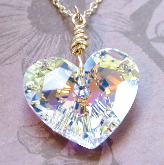Gold Beaded Crystal Heart Pendant Necklace