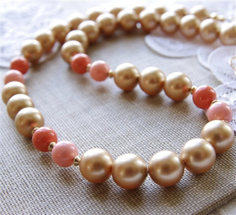 Bridesmaid Real Sea Shells Summer Jewelry Peach Seashell Drop Earrings Pale Coral Freshwater Pearls Beach Wedding Gold Filled
