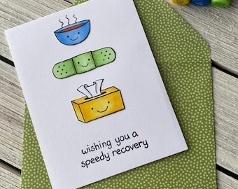 Speedy Recovery - Get Well Soon Card | Thinking of You Card, Feel Better Soon Card, Friendship Card, Cute Card, Healing Thoughts