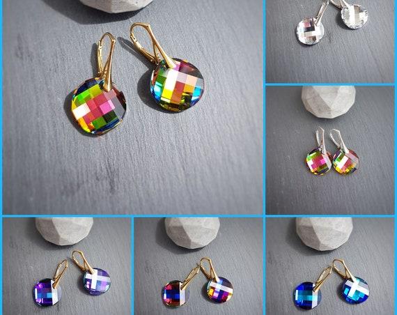 Round Crystal Earrings, Twist Earrings, Round Lever back Earrings, Drop Earrings for Sensitive Ears, Hypoallergenic, Nickel Free Silver 925