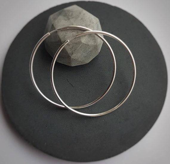 Large hoop creole earrings sterling silver 925, Round Earrings, Extra large Circle