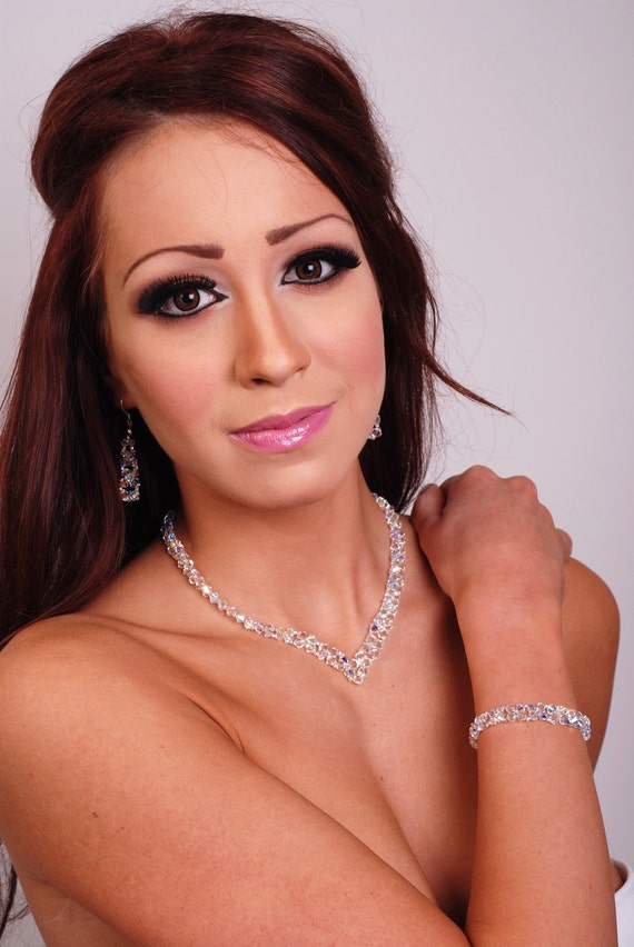 SALE - Bridal crystal necklace V shape with Swarovski AB crystals, sterling silver FREE Earrings