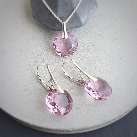 June Gemini Light Amethyst BIRTHSTONE crystal earrings and pendant necklace Jewellery set, Birth month gift, Birthday jewellery set,