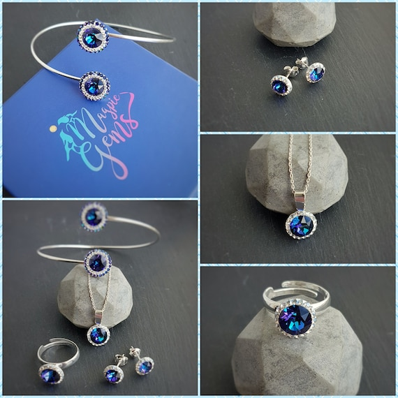 Blue Pave Style Jewellery Stud Earrings, Necklace and Adjustable Ring set with Swarovski crystals and sterling silver - Made in Ireland