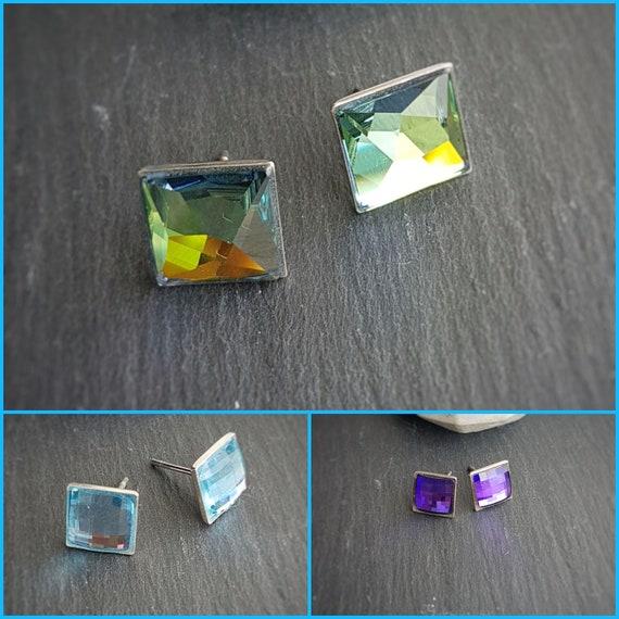 Dainty Chessboard Square Stud Crystal Earrings