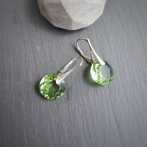 August BIRTHSTONE LEO Peridot crystal earrings, Dangle and Drop Earrings, Round earrings, Crystal Earrings, Lever back Earrings, Birthday