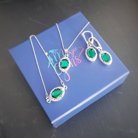 Emerald green fancy jewellery set: drop earrings, bracelet and pendant necklace Set with nickel free sterling silver Magpie Gems