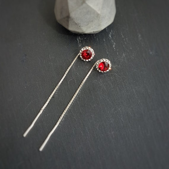 Red and Clear Threader Earrings, Pave Earrings, Round Crystal Earrings, Victorian Style, Gift Boxed, Sterling Silver Nickel Free No allergy