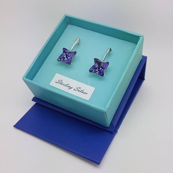 Ultra Violet Twisted Crystal Earrings with secure lever back for pierced ears, Pantone Colour of the Year 2018,  Gift boxed Jewellery