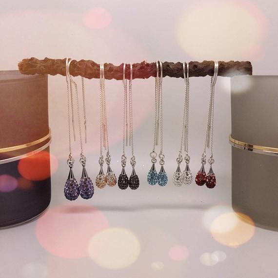 Teardrop Threader Earrings, Long Pave Earrings, Long chain earrings, Long drop, Party Earrings, Gift Boxed, Sterling Silver Nickel Free