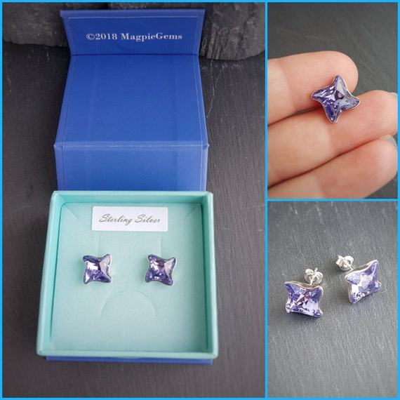 Ultra Violet Stud Earrings, Crystal Twister stud earrings, Pantone Colour of the Year 2018, Earlobe flowing earrings, Gift boxed Jewellery