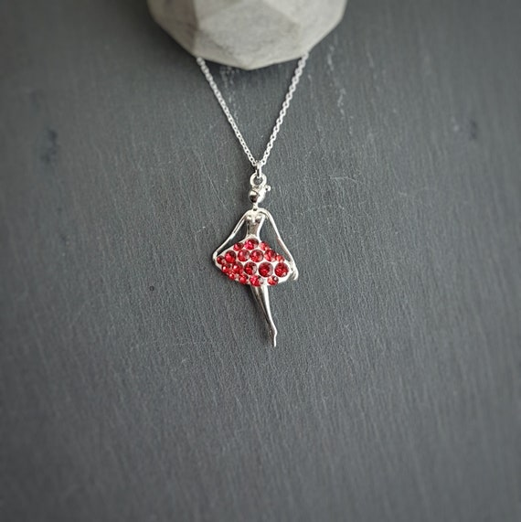 Red Ballerina Pendant Dance Necklace Sterling Siver Chain, Swarovski Crystals, Gift Boxed