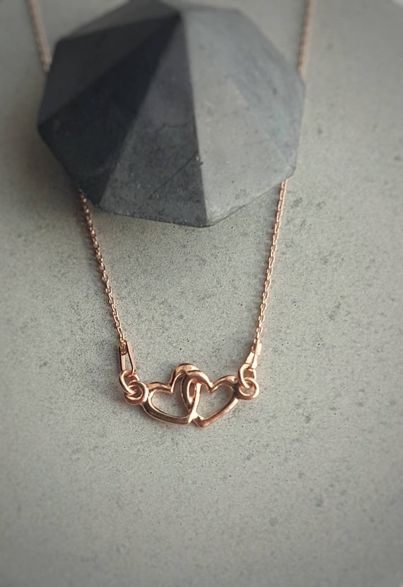 Sterling Silver Heart Necklace,  Minimalist Necklace, Dainty Two Heart Necklace, Rose Gold Heart Necklace, Thin Chain Necklace