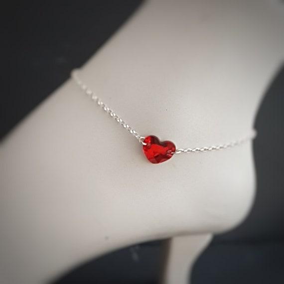 Heart Anklet, Dainty Anklets for Women, Anklet, Ankle Bracelet for Women, Sterling Silver Anklets for Women, Silver Anklet, Body Jewelry