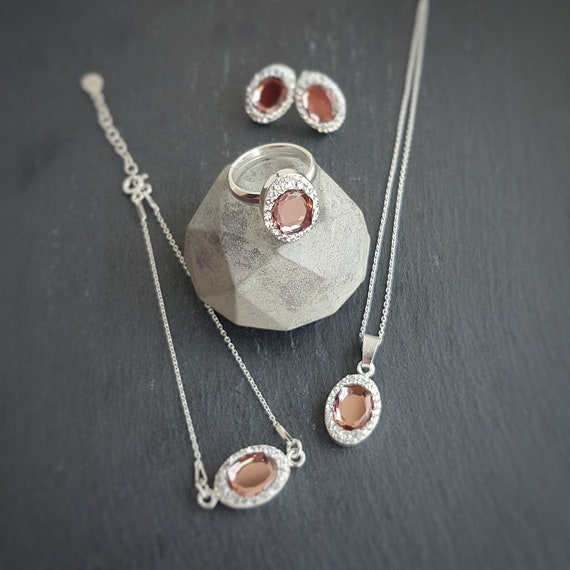 Fancy Jewellery Set With Earrings Ring Bracelet Necklace Set Blush Pink + Nickel Free Sterling Silver
