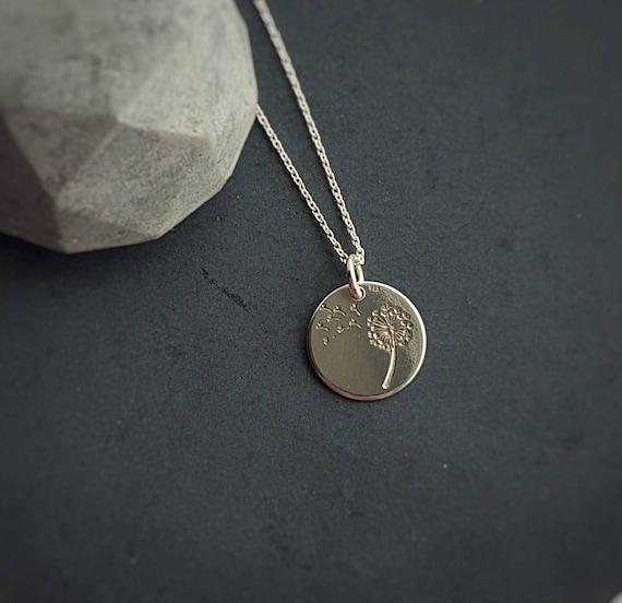 Dandelion Pendant Chain Necklace, Sterling Silver Dandelion Make a Wish Necklace,  Minimalist Necklace, Dainty Necklace, Thin Chain Necklace