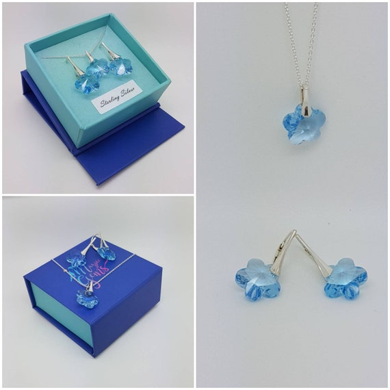Aquamarine Flower Jewellery set with Leverback earrings and sterling silver pendant, Gift Boxed