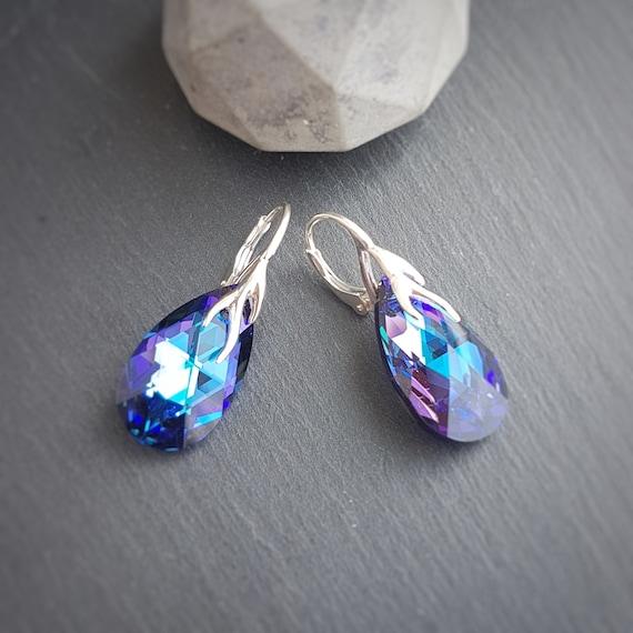 Tear Drop Earrings with Lever back, Pear Shape Earrings, Ultra Violet Crystals, Purple blue, Sterling silver earrings, Pierced ears
