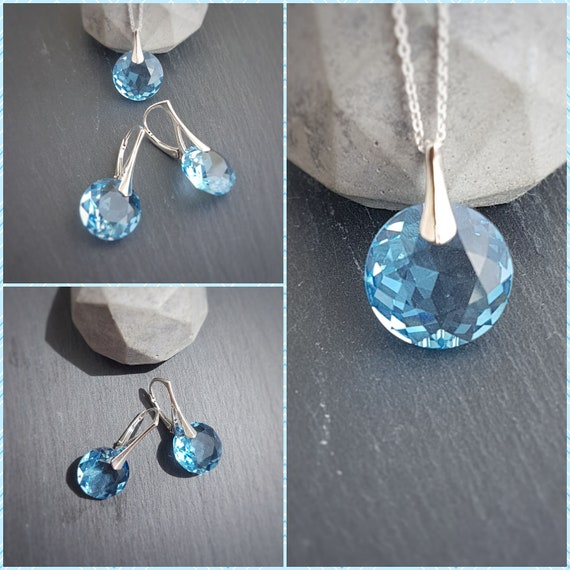 March Pisces BIRTHSTONE Aquamarine crystal earrings and necklace set with Swarovski crystals and sterling silver