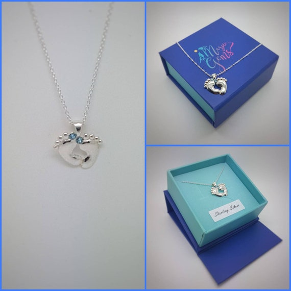 Tiny Baby feet necklace (pink blue crystals) Silver, Foot Pendant, Charm Necklace, Curb chain, Dainty necklace, Delicate gift, New Mum Baby