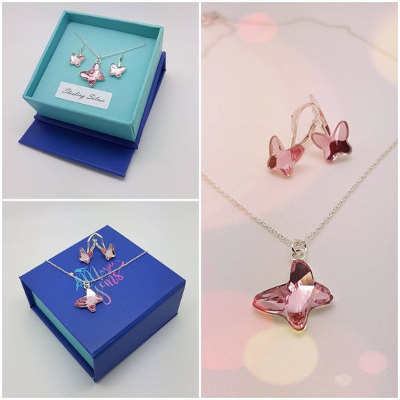 Little Miss Butterfly jewellery set with earrings and pendant