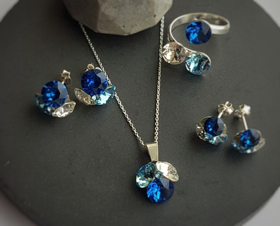 Blue Crystal Fusions Stud Earrings Necklace and Adjustable Ring Jewellery Set  with Sterling Silver Nickel Free No allergy