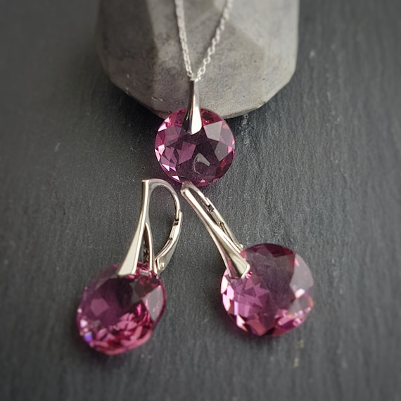 October Libra Rose BIRTHSTONE crystal earrings and necklace set with Swarovski crystals and sterling silver