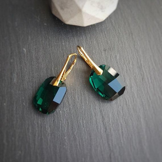 Large Emerald Green Crystal Earrings, Leverback 24k Gold plated, Pierced ear gift, Dangle & Drop Earrings, Made in Ireland, Irish Design