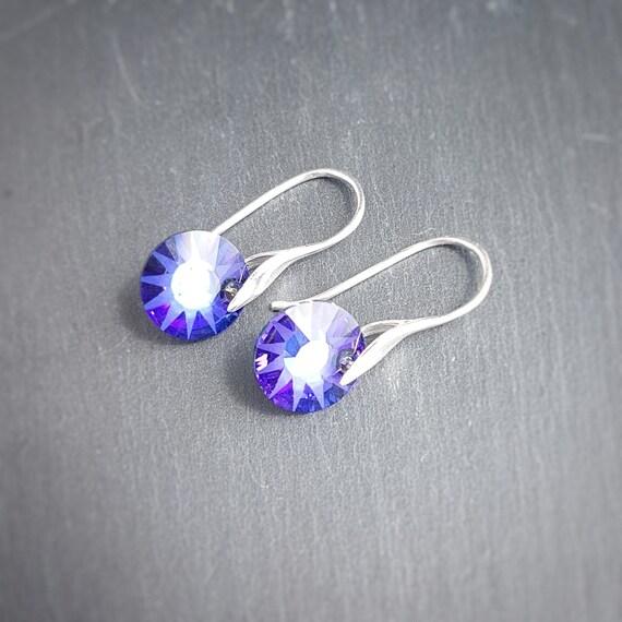 Small Sun Purple Crystal earrings, Round Earrings, Ear wire earrings, Crystal and silver Earrings, Drop Earrings
