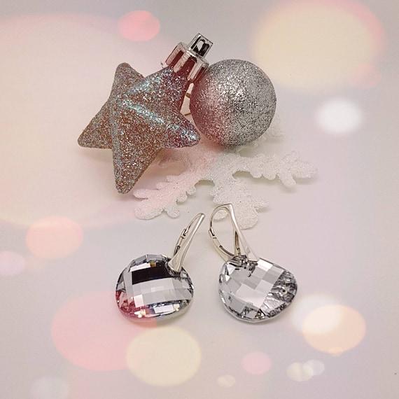 Twist of Fate Round Silver Twist Crystal Earrings with Lever back, Drop Earrings for Sensitive Ears, Hypoallergenic, Nickel Free Silver 925
