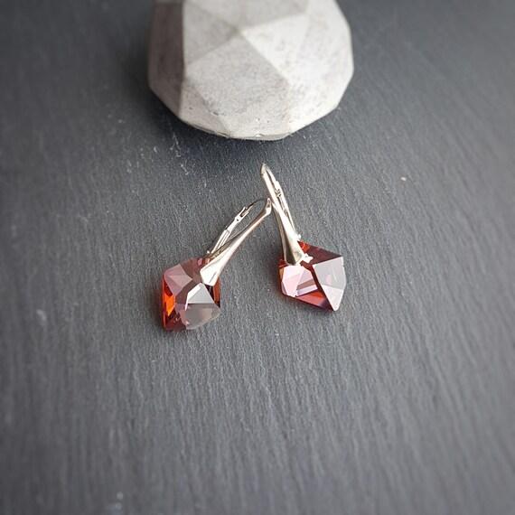 Red Magma Crystal Earrings or Aquamarine Leverback Earrings, Dangle and Drop Earrings, Sterling Silver 925 Earrings, Stylish Secure Earrings