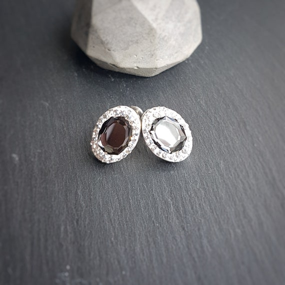 Classic Oval Pave style stud earrings - sterling silver and Swarovski crystals