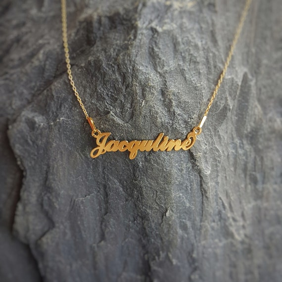 Jacquline Name necklace 24k Gold Filled Sterling Silver, Laser Cut Name Pendant, Personalised Name Necklace, Gold plated Name Chain