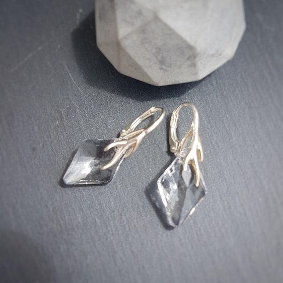 Delicate Rhombus Crystal Earrings, Leverback earrings, Sterling silver 925, Clear crystal earring for sensitive ears