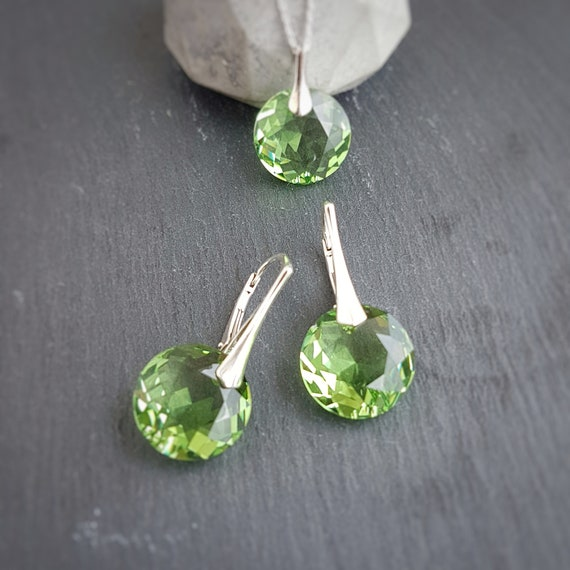 August BIRTHSTONE LEO Peridot crystal earrings and necklace set with Swarovski crystals and sterling silver