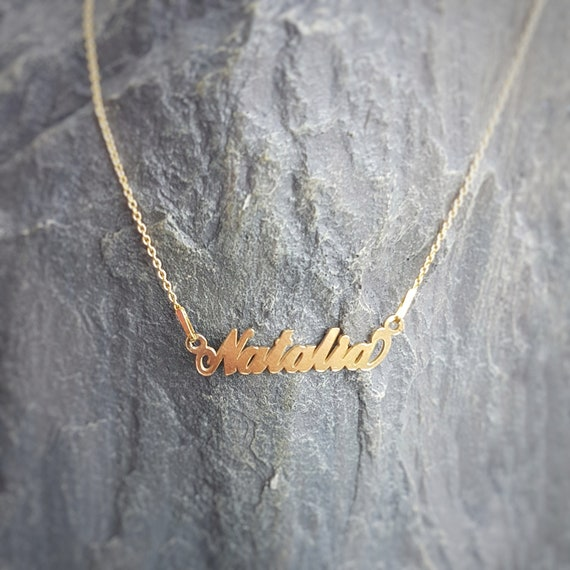 Natalia - Name necklace with 24k Gold Filled Sterling Silver, laser cut name, Personalised Name Necklace, Chain Necklace, Rose Gold plated
