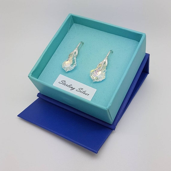 Swarovski Crystal Earrings Baroque 16mm with Sterling Silver 925