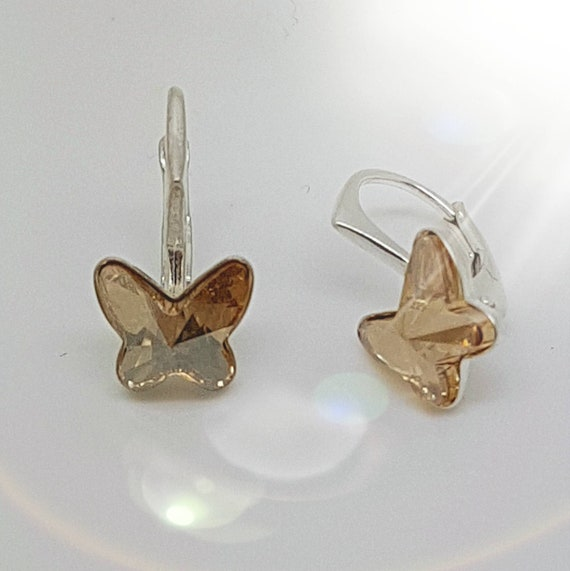 Dainty butterfly earrings with sterling silver small leverback