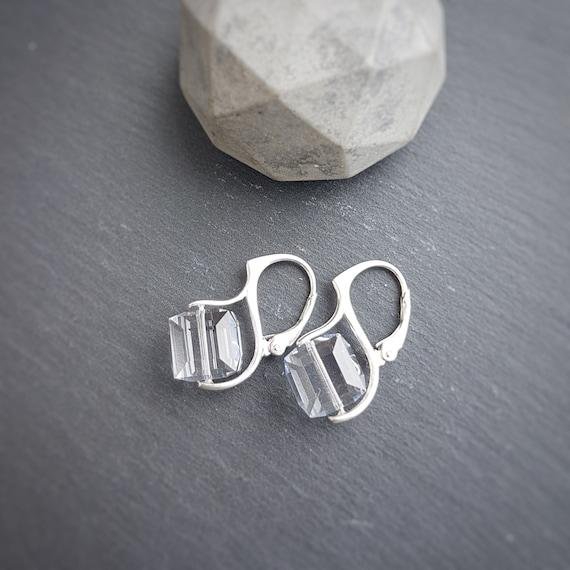 Large Cube Crystal Earrings, Leverback earrings for pierced ears, Sterling Silver, Clear Crystal Earrings
