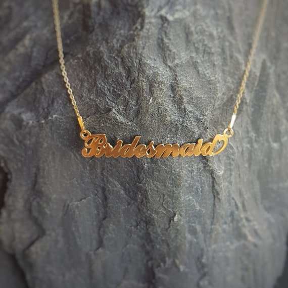 Bridesmaid Name necklace 24k Gold Filled Sterling Silver, Laser Cut Name Pendant, Personalised Name Necklace, Gold plated Name Chain, Gift