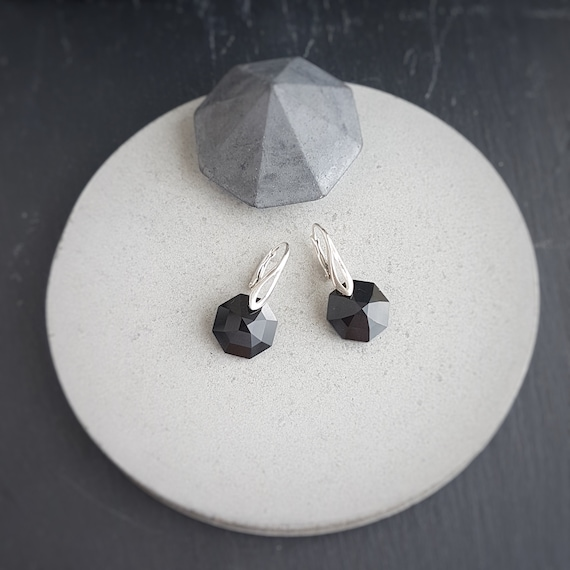 Black Octagon Crystal Earrings, Drop & Dangle earrings, sterling silver 925 secure leverback for pierced ears