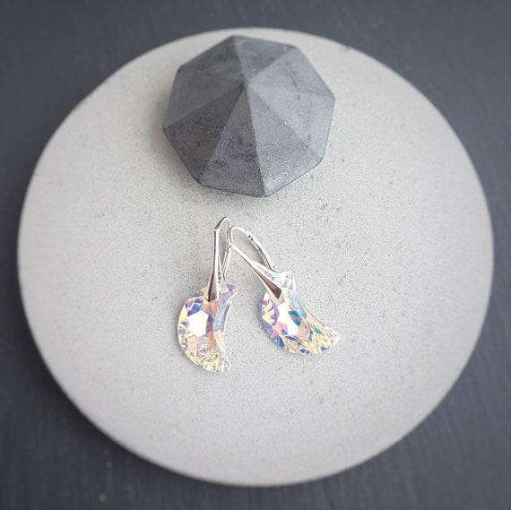 Star and / or Moon earrings with Swarovski crystals and sterling silver leverbacks, Drop earrings, Sailor moon inspired earrings, Dangle
